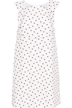 DELPOZO Embroidered waffle-knit cotton mini dress