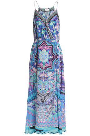 CAMILLA Animal Instinct wrap-effect embellished printed silk crepe de chine maxi dress