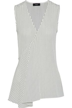 THEORY Wrap-effect striped silk crepe de chine tunic