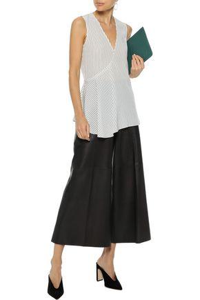 THEORY Wrap-effect striped silk crepe de chine tunic