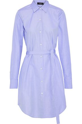 THEORY Crowley belted cotton-poplin shirt dress