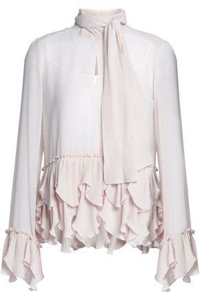 SEE BY CHLOÉ Pussy-bow tiered pleated georgette blouse