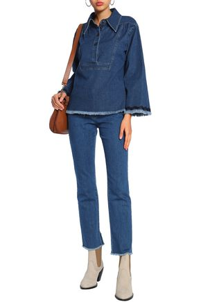 SEE BY CHLOÉ Rickrack-trimmed frayed denim top