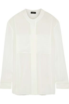 THEORY Striped silk crepe de chine shirt