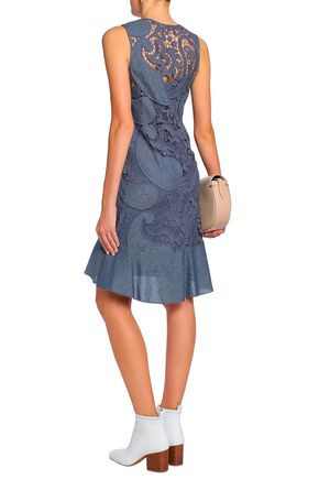 SEE BY CHLOÉ Fluted twill-trimmed cotton-blend guipure lace dress