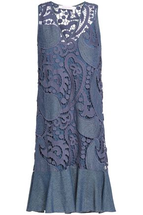 SEE BY CHLOÉ Cotton-blend guipure lace and chambray mini dress