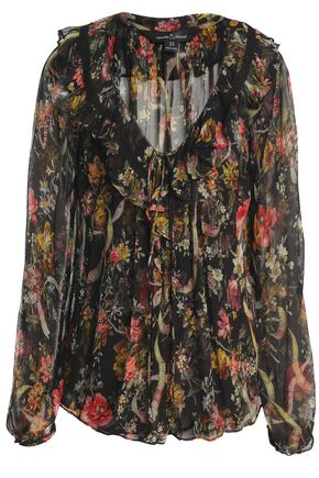 NEEDLE & THREAD Floral-print ruffled crepon blouse