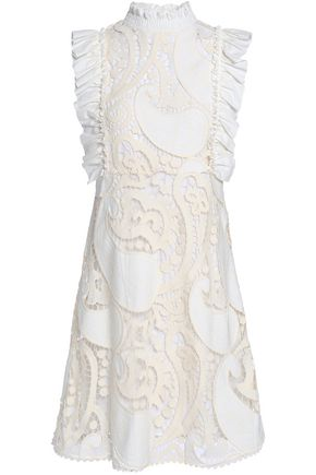 SEE BY CHLOÉ Ruffled twill-trimmed cotton-blend guipure lace mini dress
