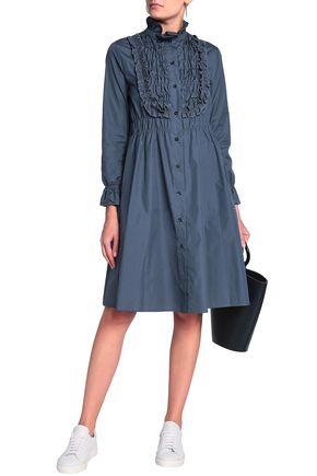 SEE BY CHLOÉ Ruffled cotton-poplin turtleneck shirt dress