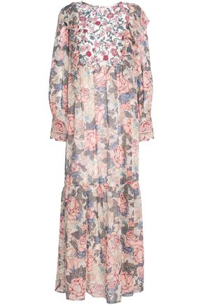 SEE BY CHLOÉ Crepe de chine-paneled floral-print silk-georgette maxi dress