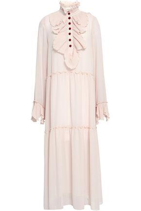 SEE BY CHLOÉ Ruffled tiered crepe midi shirt dress