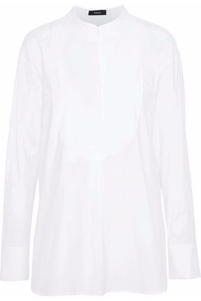 THEORY Paneled stretch-cotton poplin tunic