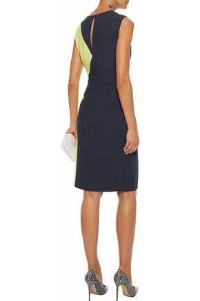 RAOUL Bonnie two-tone crepe dress