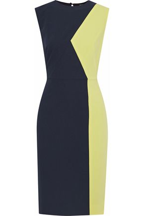 RAOUL Bonnie two-tone crepe dress