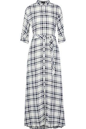 THEORY Checked gauze maxi shirt dress