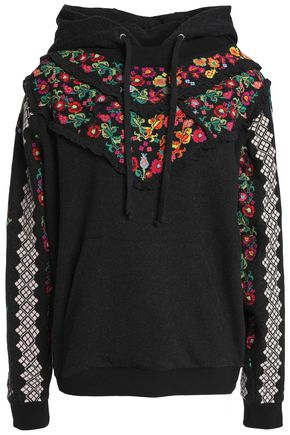 NEEDLE & THREAD Embroidered ruffle-trimmed cotton-blend terry sweatshirt