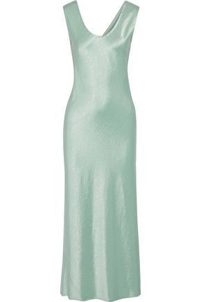THEORY Gathered crinkled-satin maxi dress