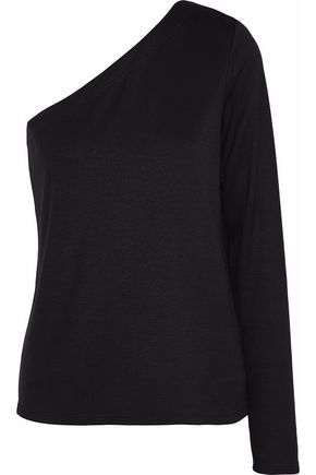 THEORY Left one-shoulder stretch-jersey top