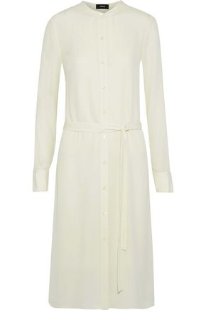 THEORY Effortless belted silk shirt dress