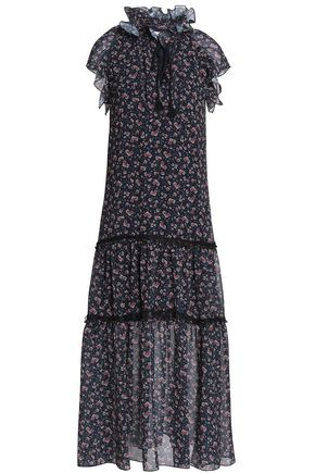 SEE BY CHLOÉ Lace-trimmed ruffled floral-print georgette midi dress