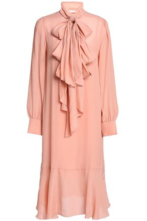 SEE BY CHLOÉ Bow-embellished crepe de chine shirt dress