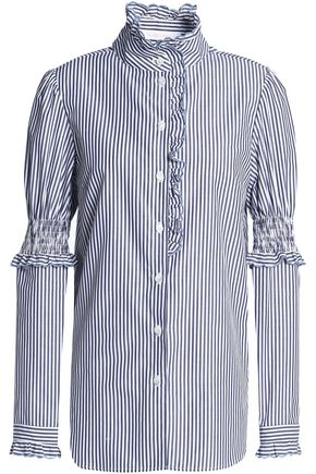 SEE BY CHLOÉ Ruffle-trimmed striped cotton-poplin shirt