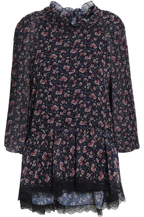 SEE BY CHLOÉ Lace-trimmed floral-print georgette blouse