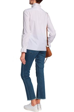 SEE BY CHLOÉ Ruffle-trimmed shirred cotton-poplin blouse