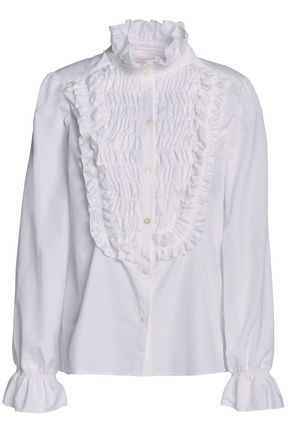 SEE BY CHLOÉ Ruffled shirred cotton-poplin shirt
