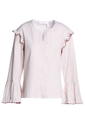 SEE BY CHLOÉ Ruffle-trimmed striped cotton top