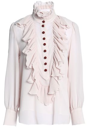 SEE BY CHLOÉ Ruffle-trimmed crepe de chine top