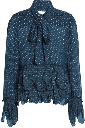 SEE BY CHLOÉ Printed tiered ruffled crepe blouse