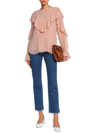 SEE BY CHLOÉ Ruffled cotton and silk-blend crepon blouse