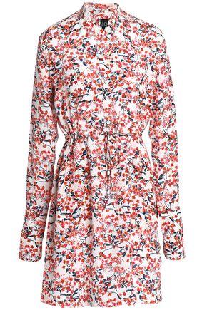 SALONI Gathered printed silk crepe de chine mini dress