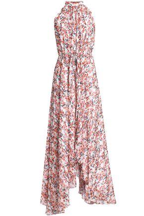 SALONI Belted asymmetric printed silk-georgette maxi dress