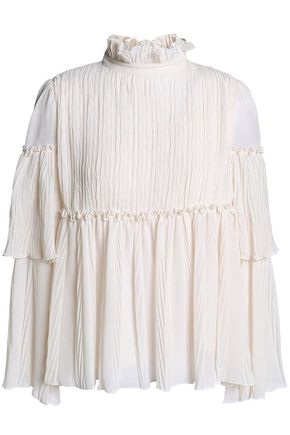 SEE BY CHLOÉ Tiered crinkled-georgette blouse