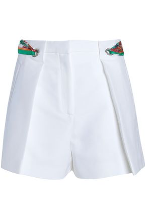 EMILIO PUCCI Printed twill-trimmed pleated cotton shorts