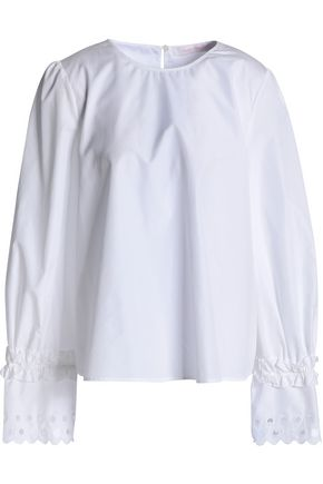 SEE BY CHLOÉ Broderie anglaise-trimmed cotton-poplin top