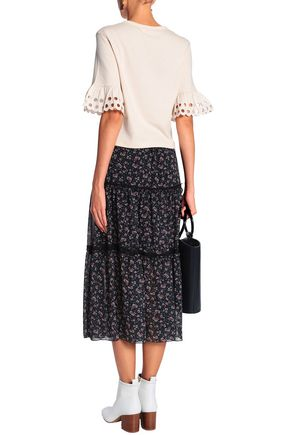 SEE BY CHLOÉ Broderie anglaise-trimmed cotton-jersey top