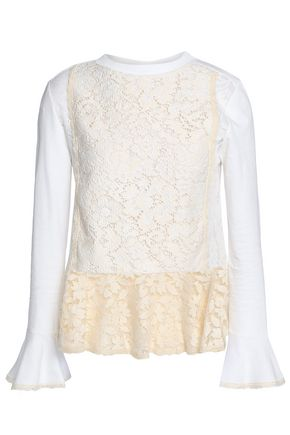 SEE BY CHLOÉ Crocheted cotton-blend peplum top