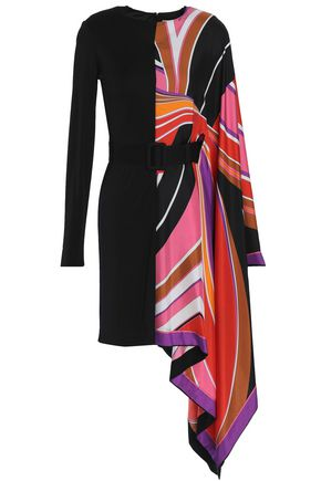 EMILIO PUCCI Asymmetric paneled printed silk mini dress