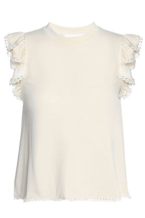 SEE BY CHLOÉ Crochet-trimmed ruffled jersey top