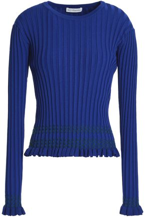 ALTUZARRA Ruffle-trimmed embroidered ribbed-knit sweater