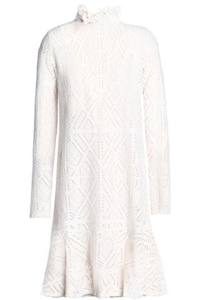 SEE BY CHLOÉ Ruffled pointelle-knit turtleneck dress