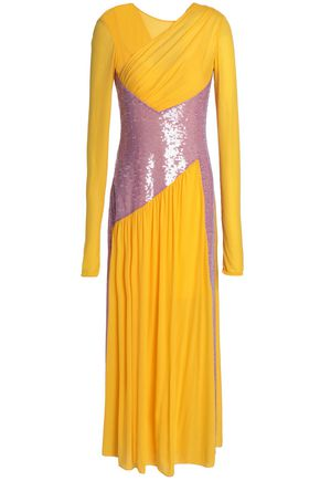 EMILIO PUCCI Paneled sequined jersey maxi dress
