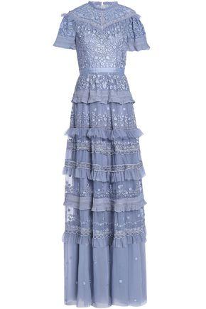 NEEDLE & THREAD ラッフル付き ティアード 刺繍入り チュール ロングドレス