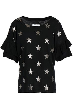 CURRENT/ELLIOTT Ruffled metallic printed cotton-jersey T-shirt
