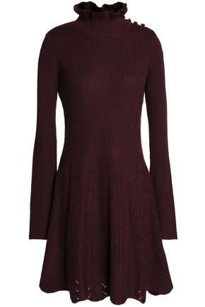 SEE BY CHLOÉ Fluted button-detailed ribbed wool mini dress