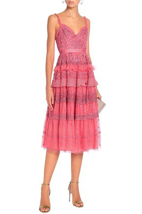 NEEDLE & THREAD Ruffled tiered embroidered tulle dress