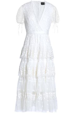 NEEDLE & THREAD Wrap-effect ruffle-trimmed embroidered tulle midi dress